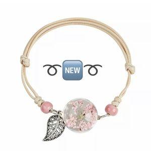 Pink Gypsophila Glass Dome Adjustable Bracelet🆕
